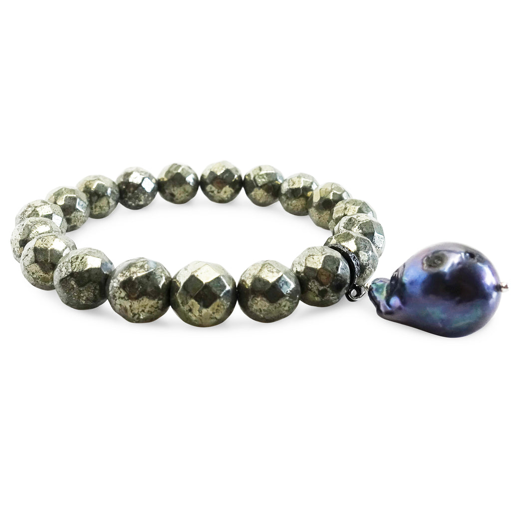 """Iron Will"" Pyrite and Black Baroque Pearl Bracelet"