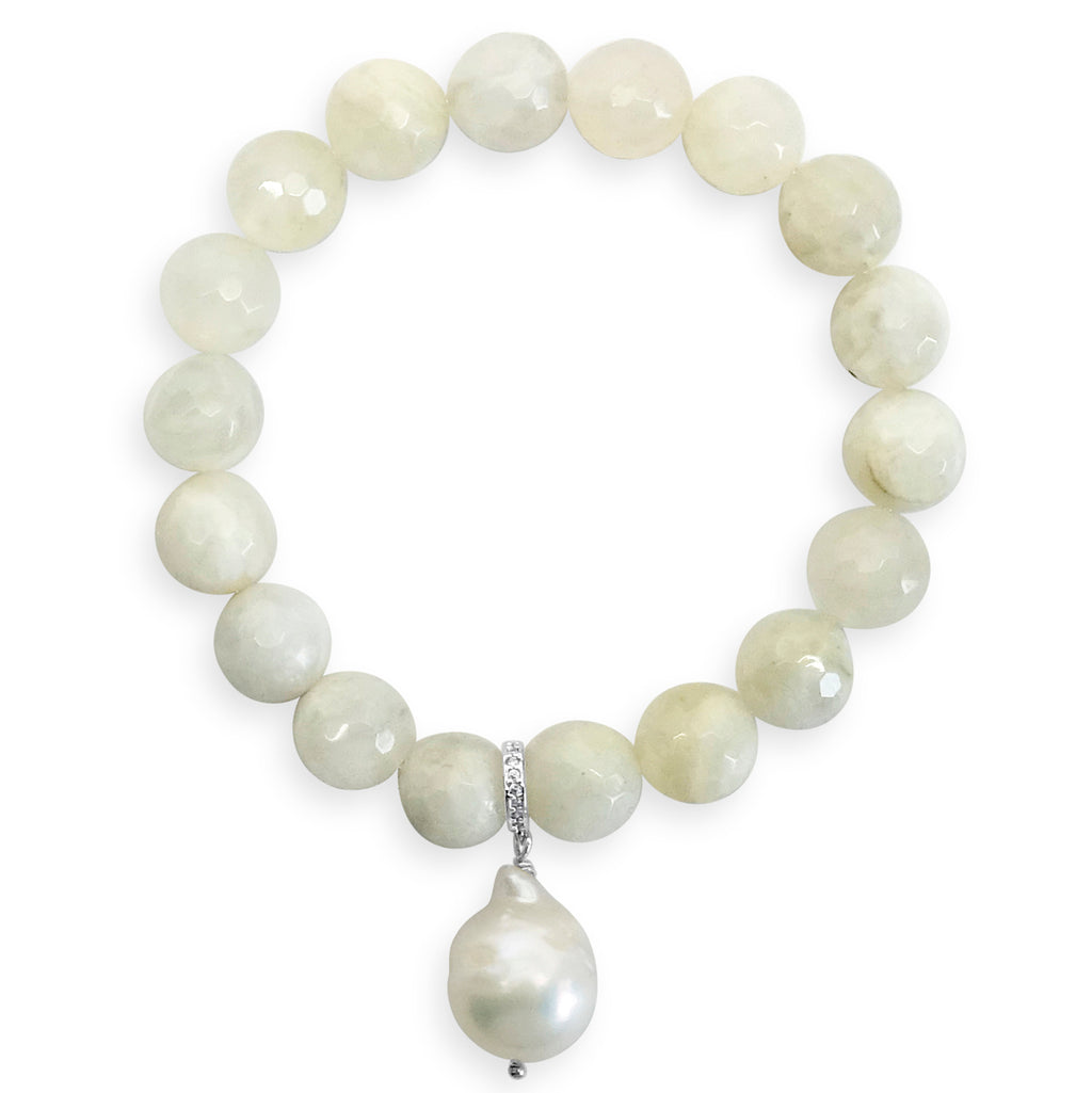 """The Moon"" Moonstone & Baroque Pearl Bracelet"