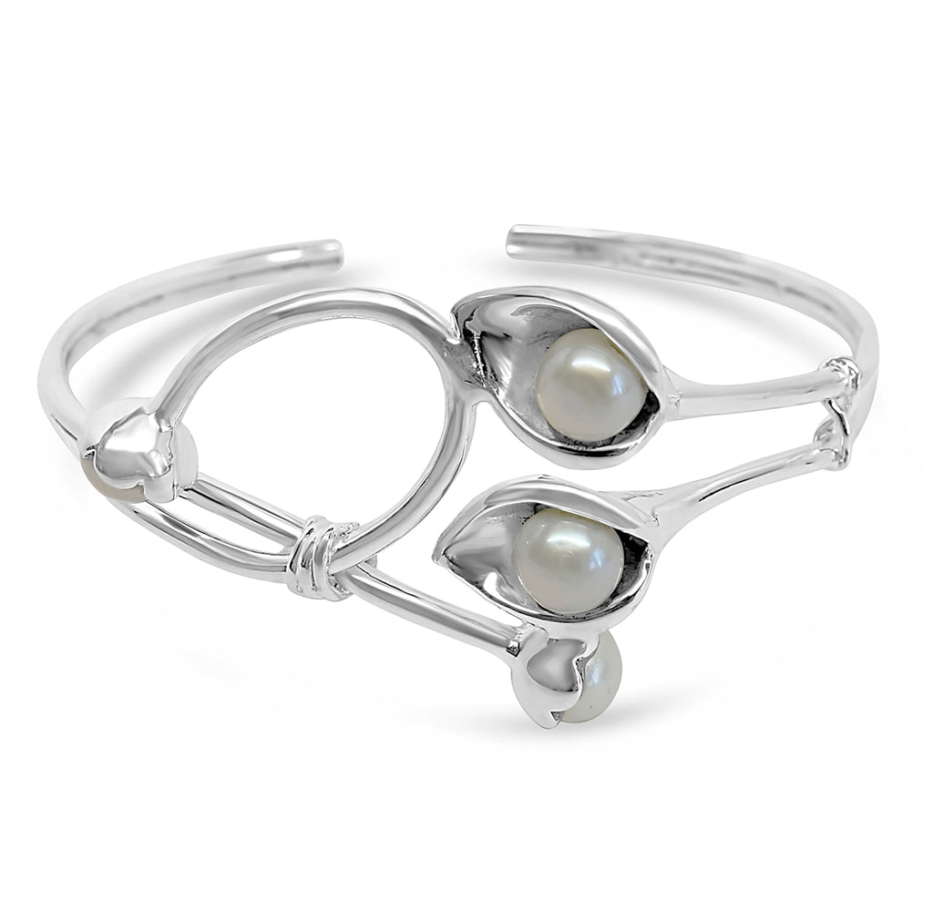 """Grace"" Natural Pearls & Silver Cuff Bracelet"