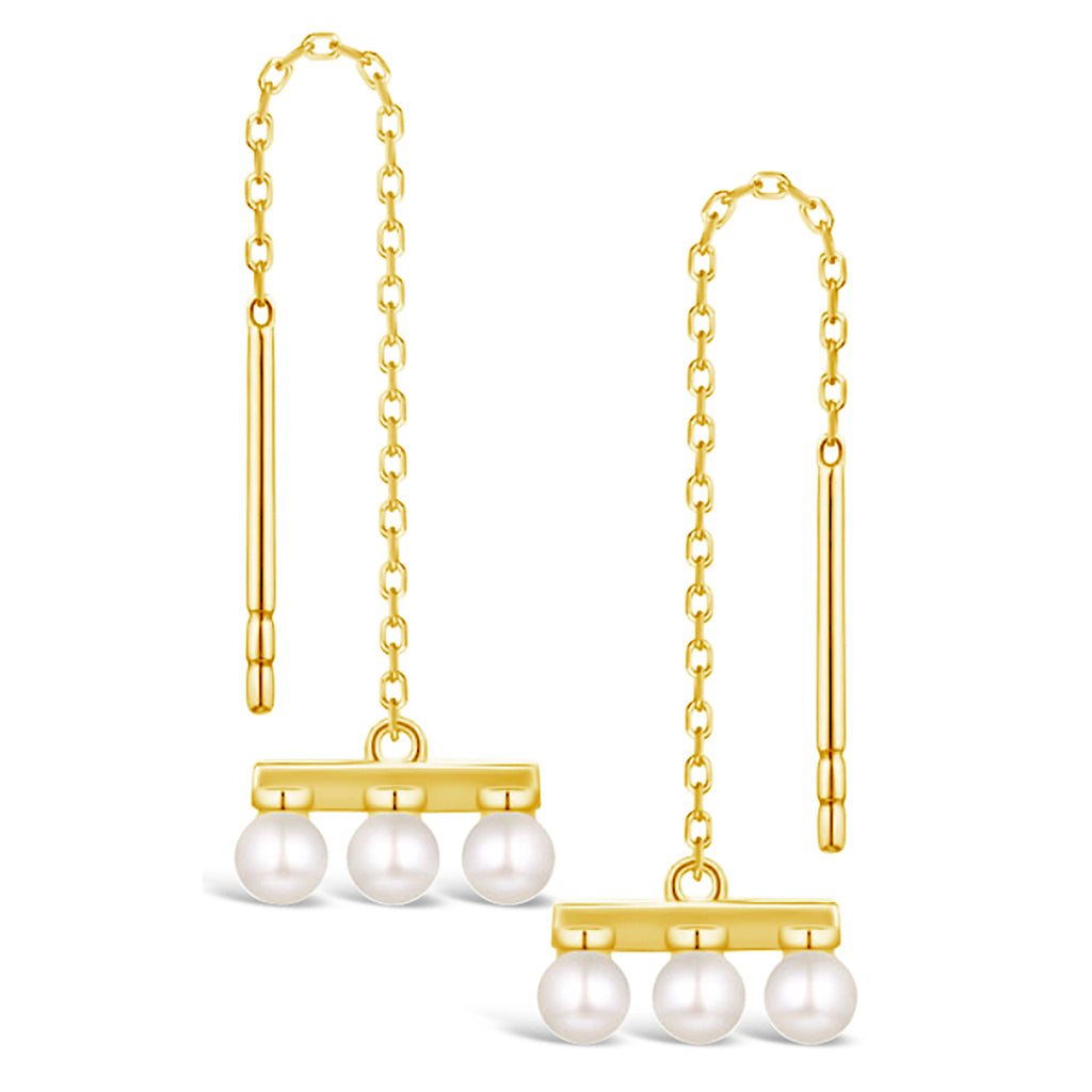 """Snowflakes"" Pearl & Gold Threaded Earrings"