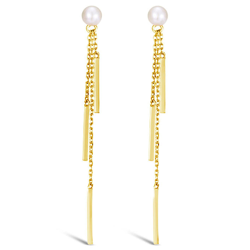"""Beach Holiday"" Pearl & Gold Dangle Earrings"