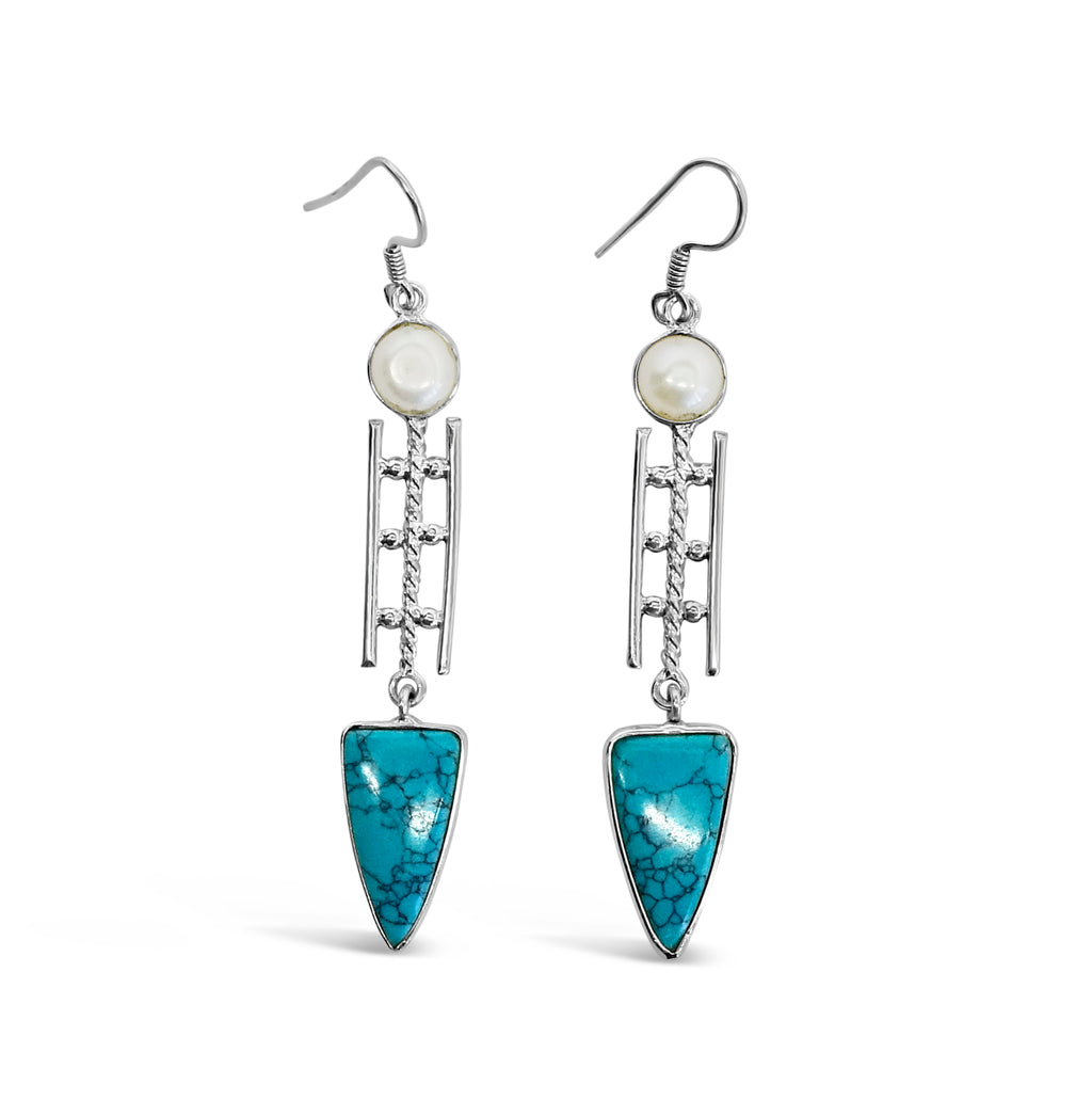 """Land and Sea"" Pearl and Turquoise Dangle Earrings"