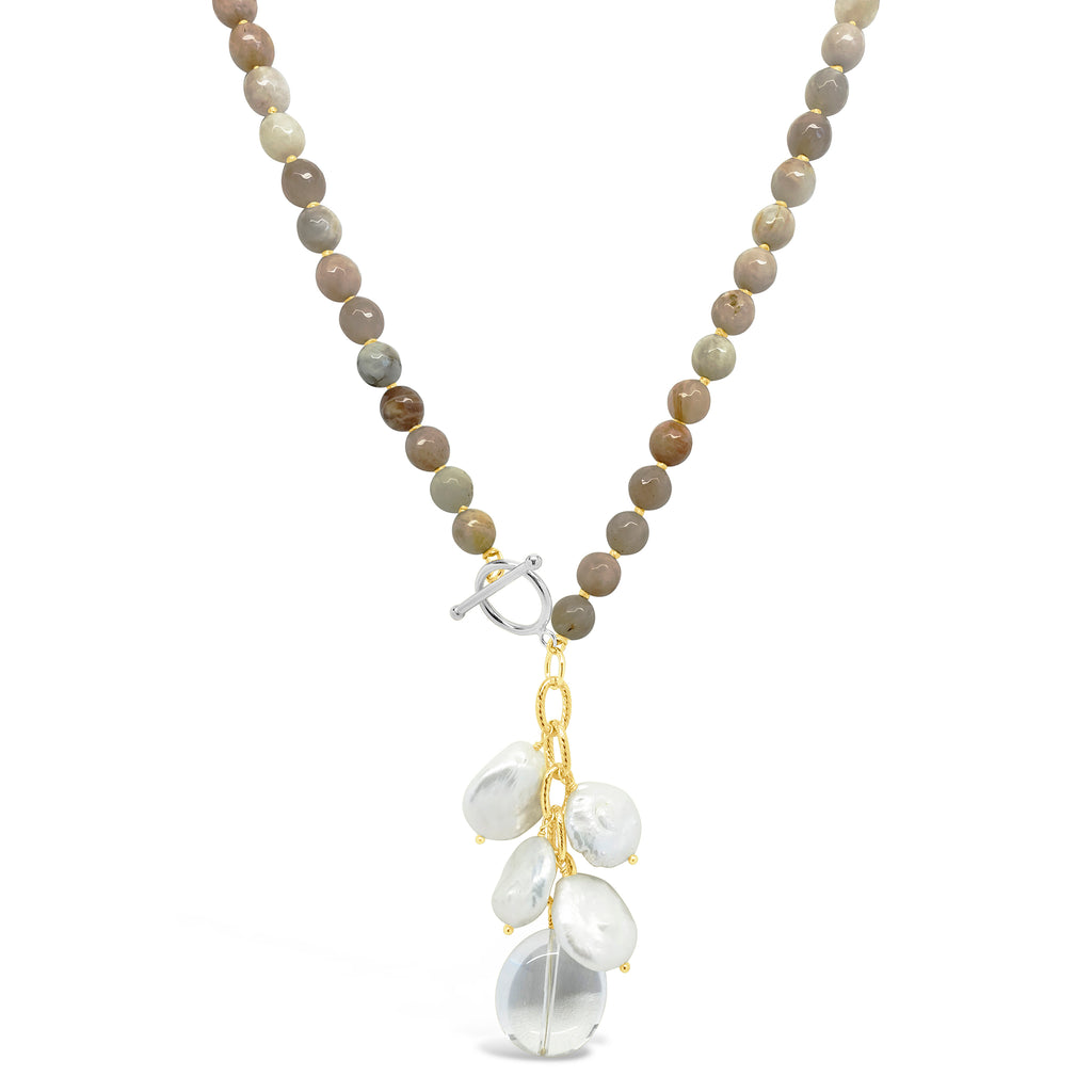 """Prayer Beads"" Gemstone with Pearl & Crystal Dangle Long Necklace"