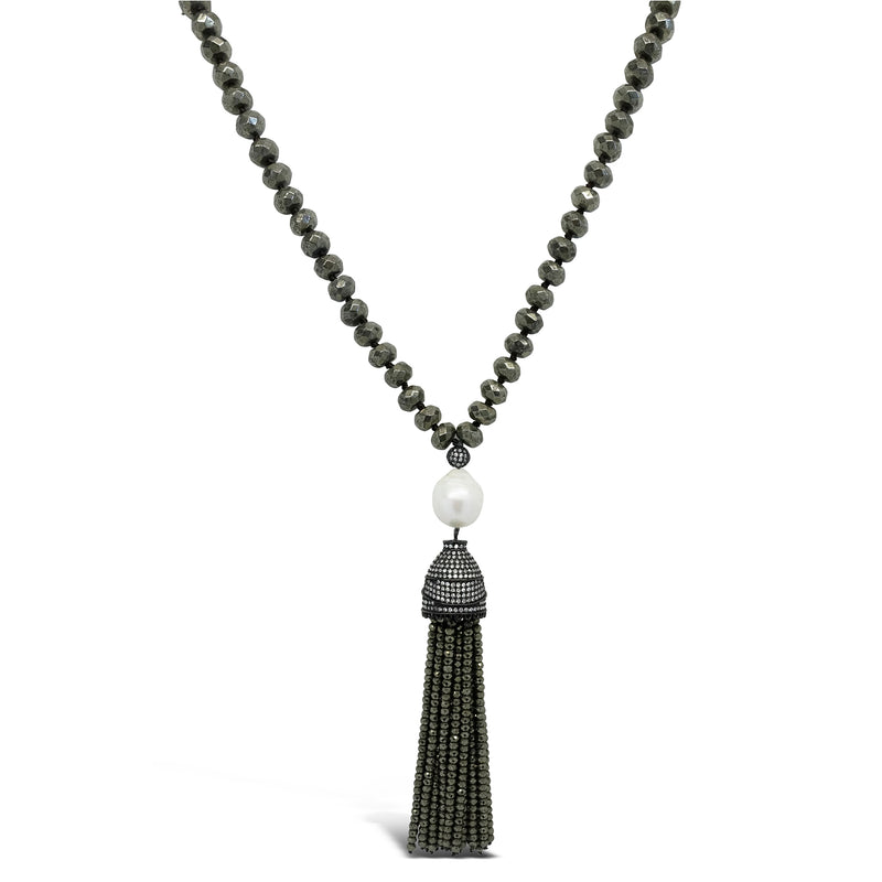 """Watch Me"" Pyrite & Pearl Long Necklace"