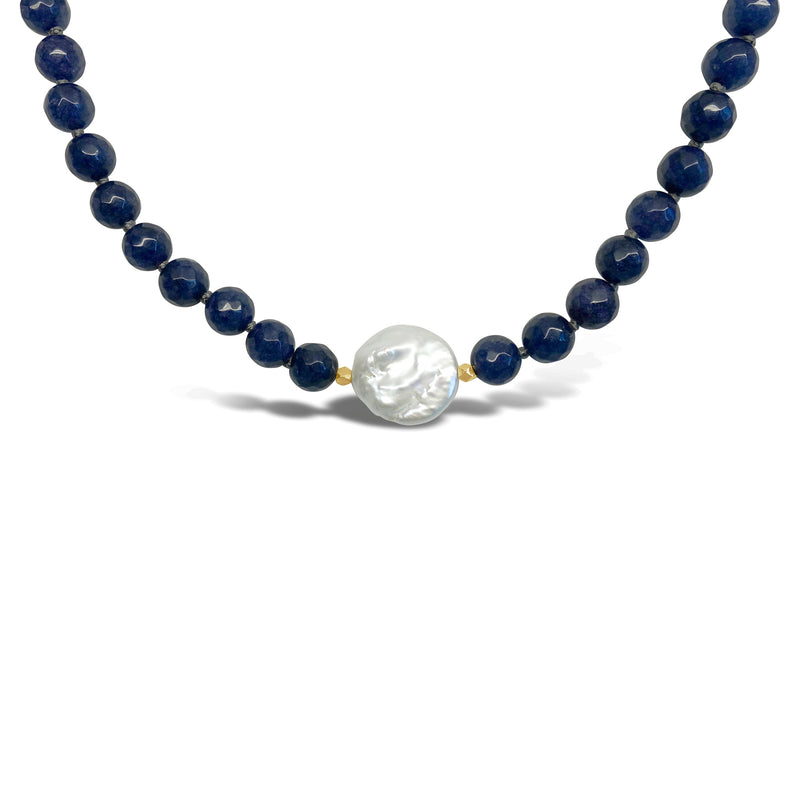 """Don't Stress"" Blue Agate & Pearl Necklace"