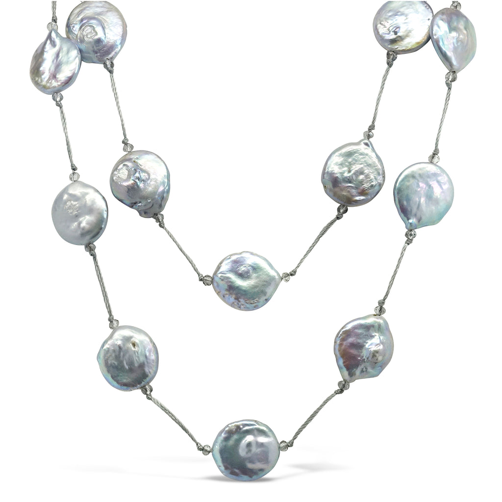 """Space"" Flat Disc Pearl & Crystal Long Necklace"