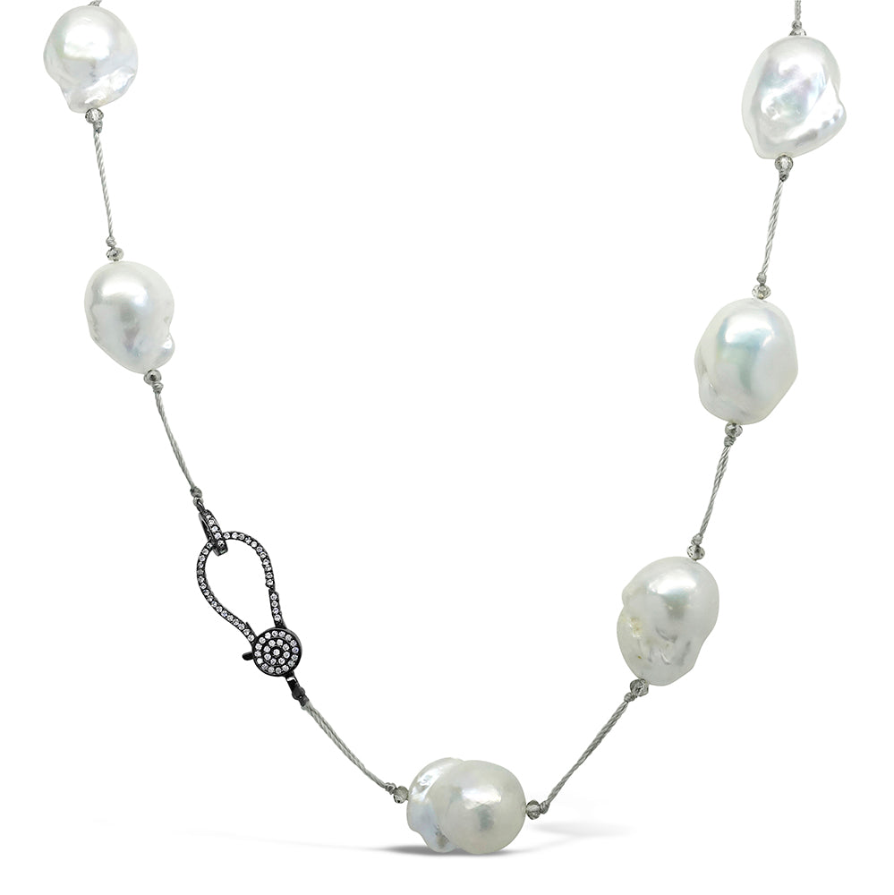 """Halo"" Baroque Pearl & Crystal Necklace"