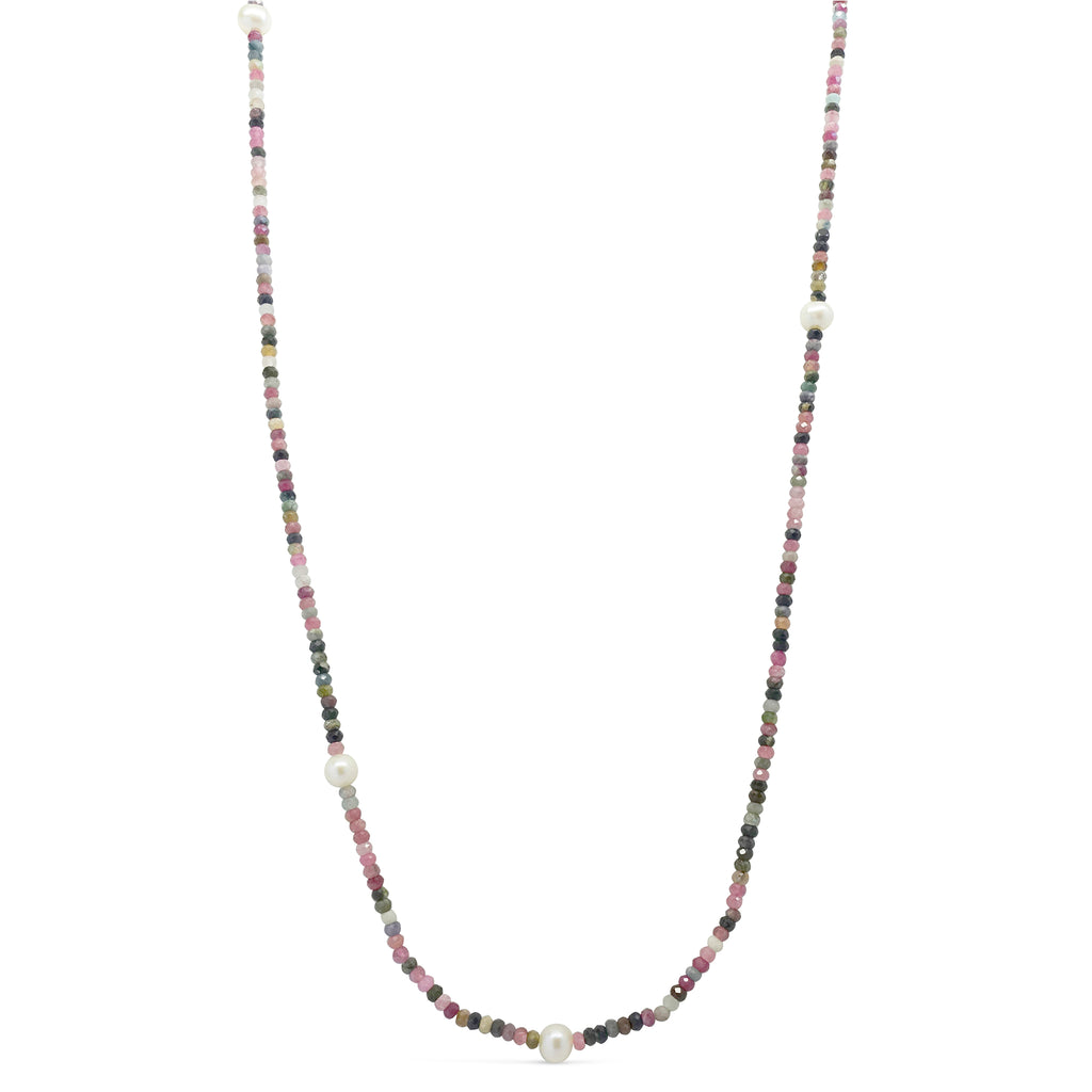 """Forest Berries"" Pink & Green Tourmaline with Pearl Long Necklace"