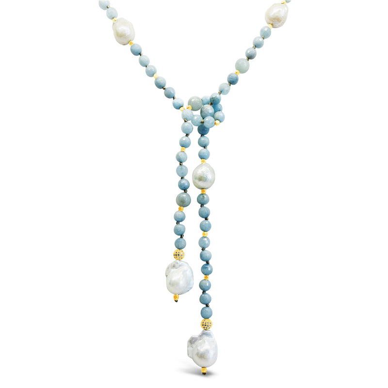 Aquamarine, Pyrite & Pearls Lariat | Necklace & Belt
