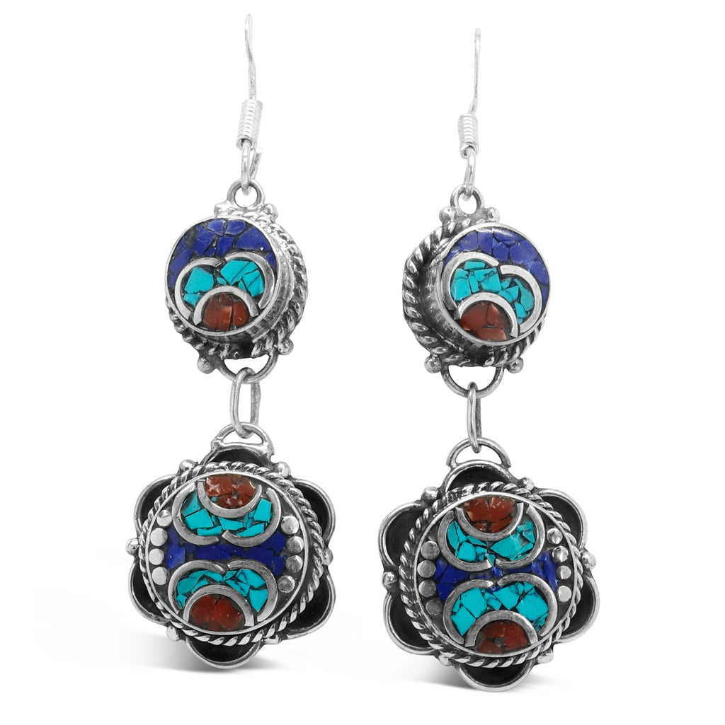 """Running Eagle"" Tibetan Turquoise & Mixed Gems Dangle Earrings"
