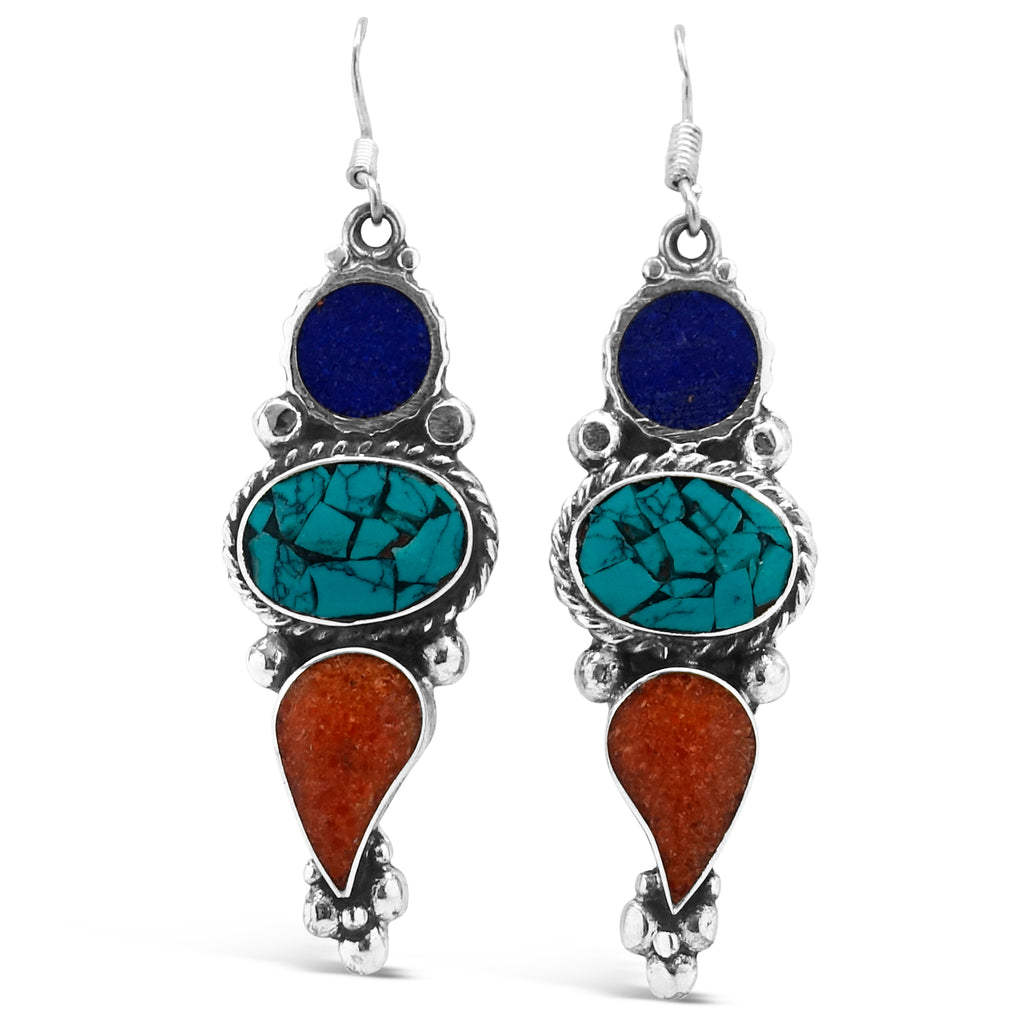 """Dahteste"" Tibetan Turquoise & Mixed Gems Dangle Earrings"