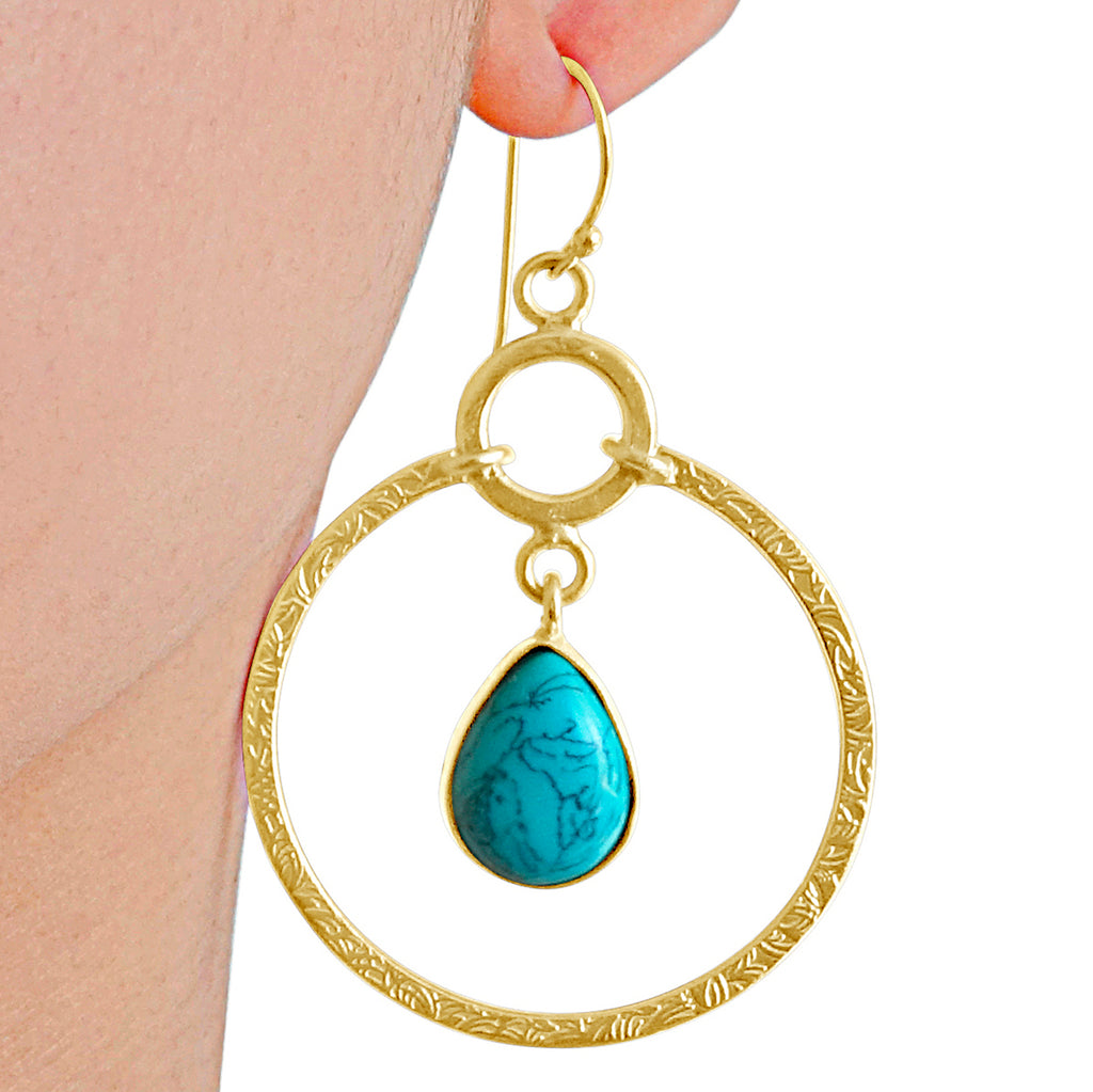 """Cleopatra"" Turquoise and Textured Gold Dangle Earrings"