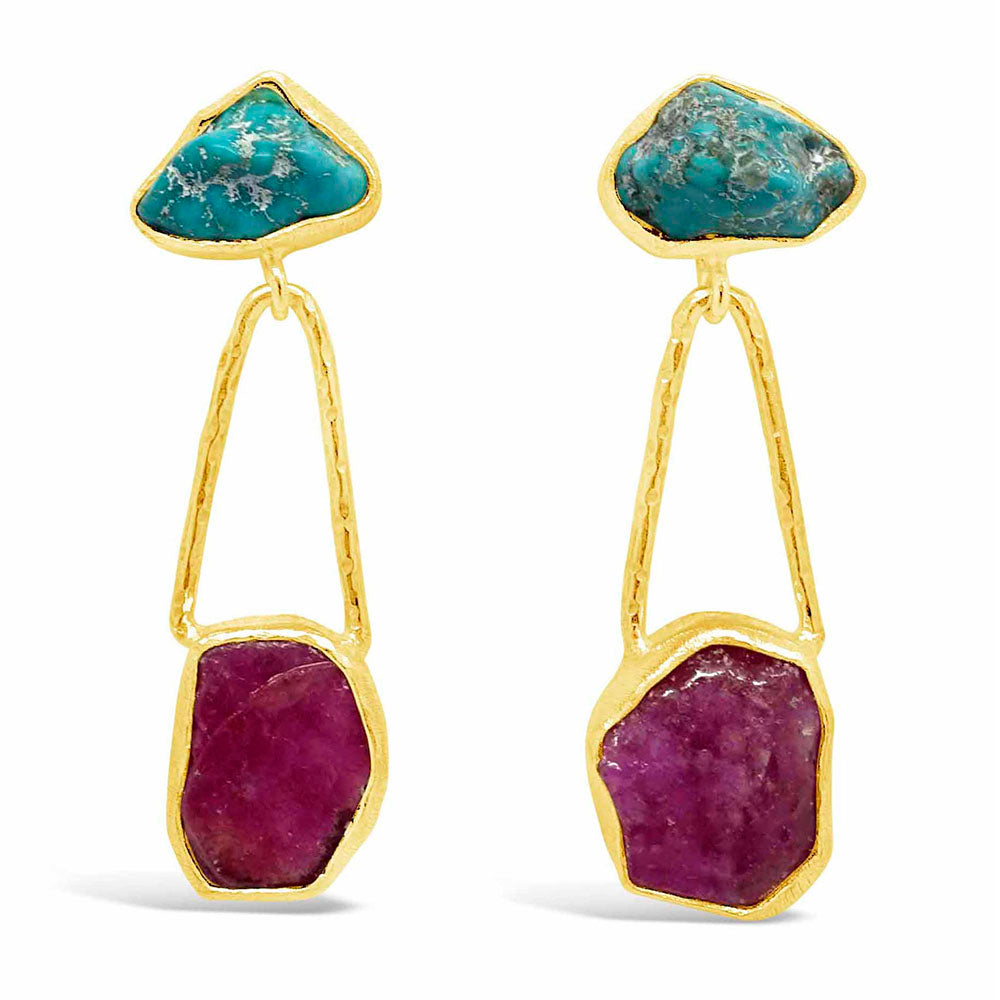 """Raw Beauty"" Turquoise & Ruby Dangle Earrings"