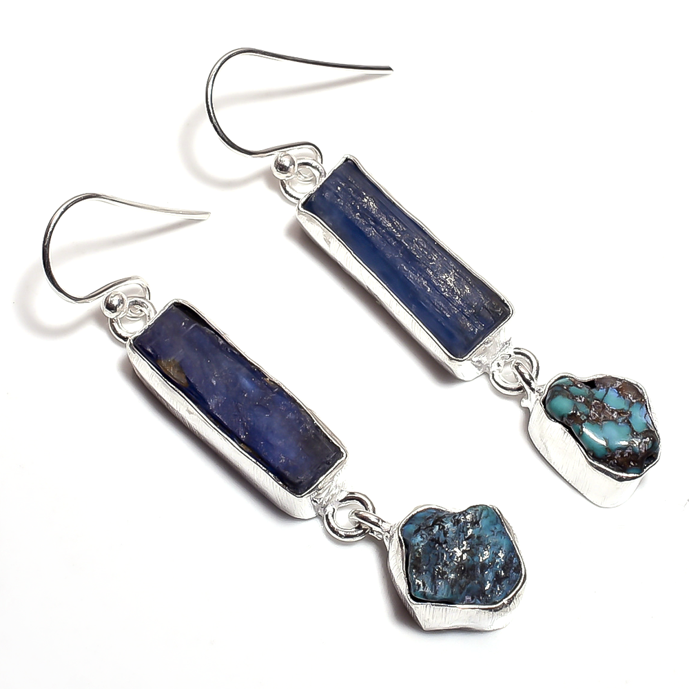 """Aqua"" Blue Kyanite & Turquoise Dangle Earrings (Silver)"