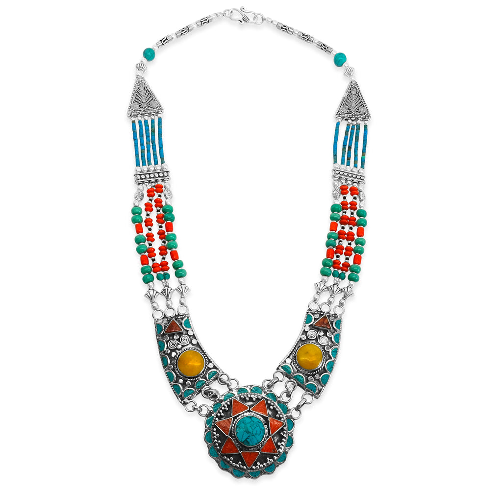 """Celebration"" Tibetan Turquoise & Red Coral Bib Necklace"