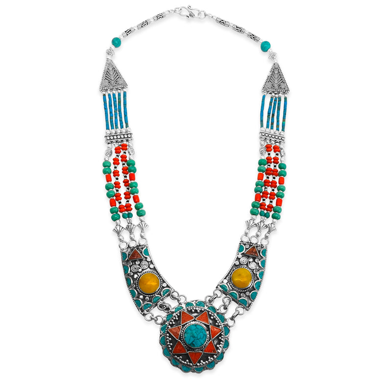 """Turquoise Hills"" Long Beaded Necklace"