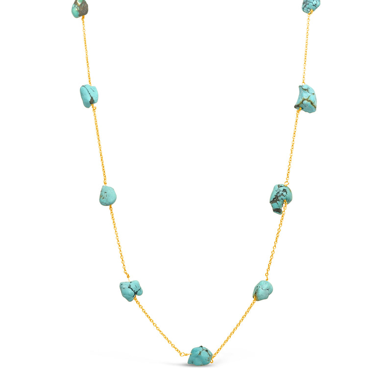 """Turquoise"" Raw Turquoise Chain Necklace"