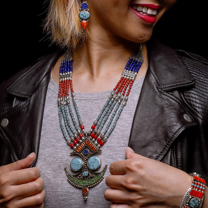 """Tibetan Princess"" Turquoise & Mixed Stone Statement Necklace"