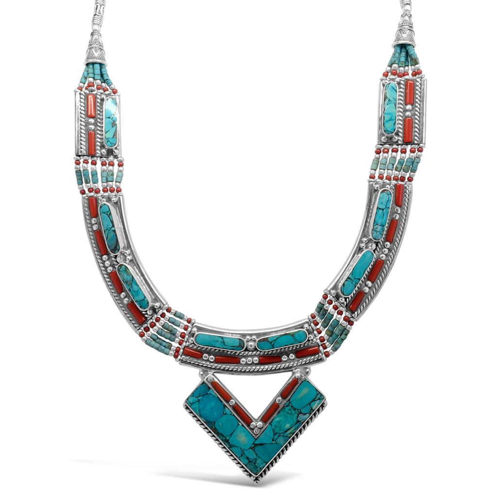 """Warrior Queen"" Turquoise Bib V Necklace"