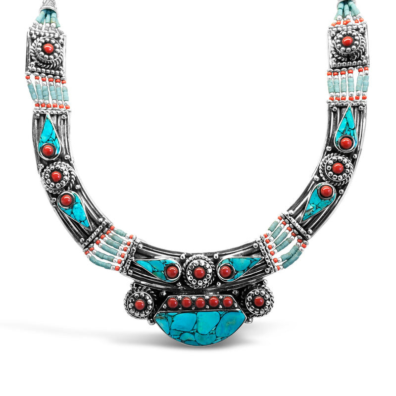 """Adored"" Tibetan Turquoise & Red Coral Bib Necklace"