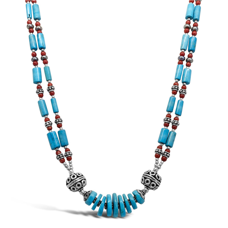 """Warrior Queen"" Tibetan Turquoise & Red Coral Bib Necklace"