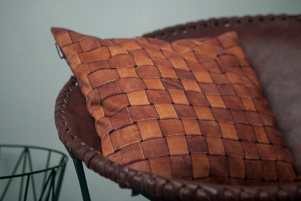 HEATHER LEATHER PILLOW COVER