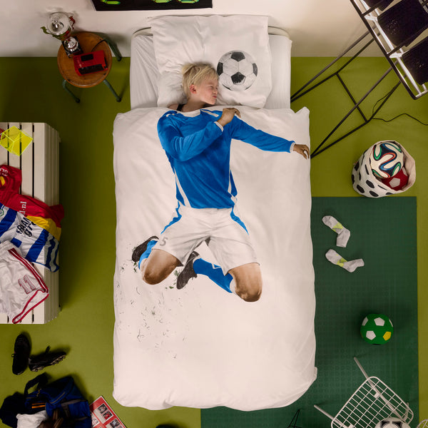 SNURK USA - SOCCER CHAMP - KIDS DUVET COVER SET - BLUE