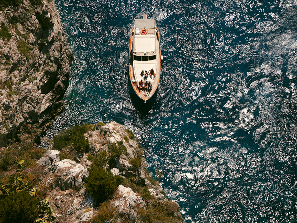 Friends On A Boat, Capri, Arial view of boat, Josh Welch Photography
