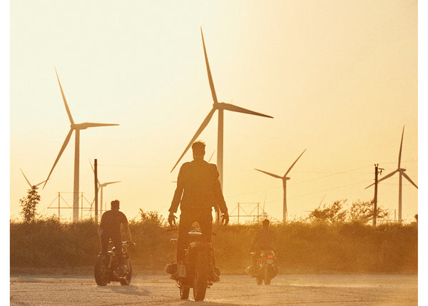 Riding at Dusk, El Reno, Men on Motorcycles at Wind Farm, Josh Welch
