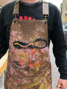 Brown Street Art Leather Apron ( one of a kind)
