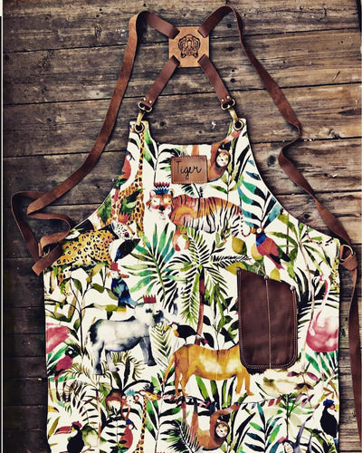 Tropical Apron with Tiger