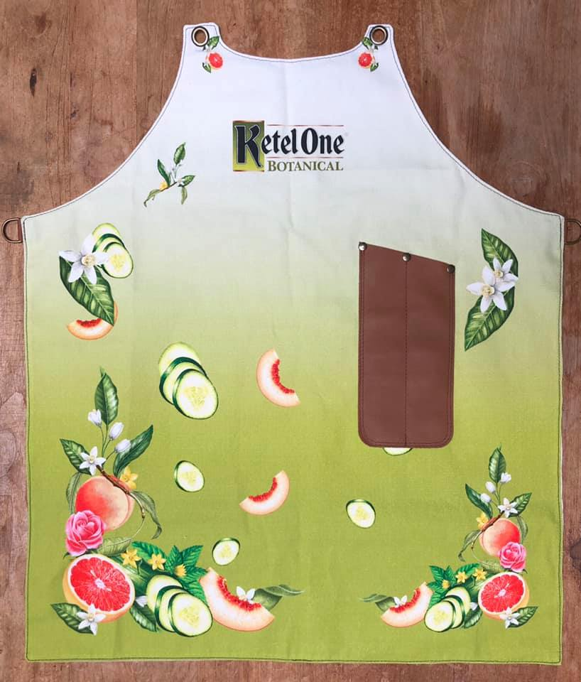 Bespoke fabric design apron with logo