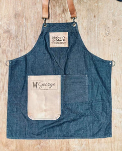 Denim Apron with 2 logo's and leather pocket (brown/black)