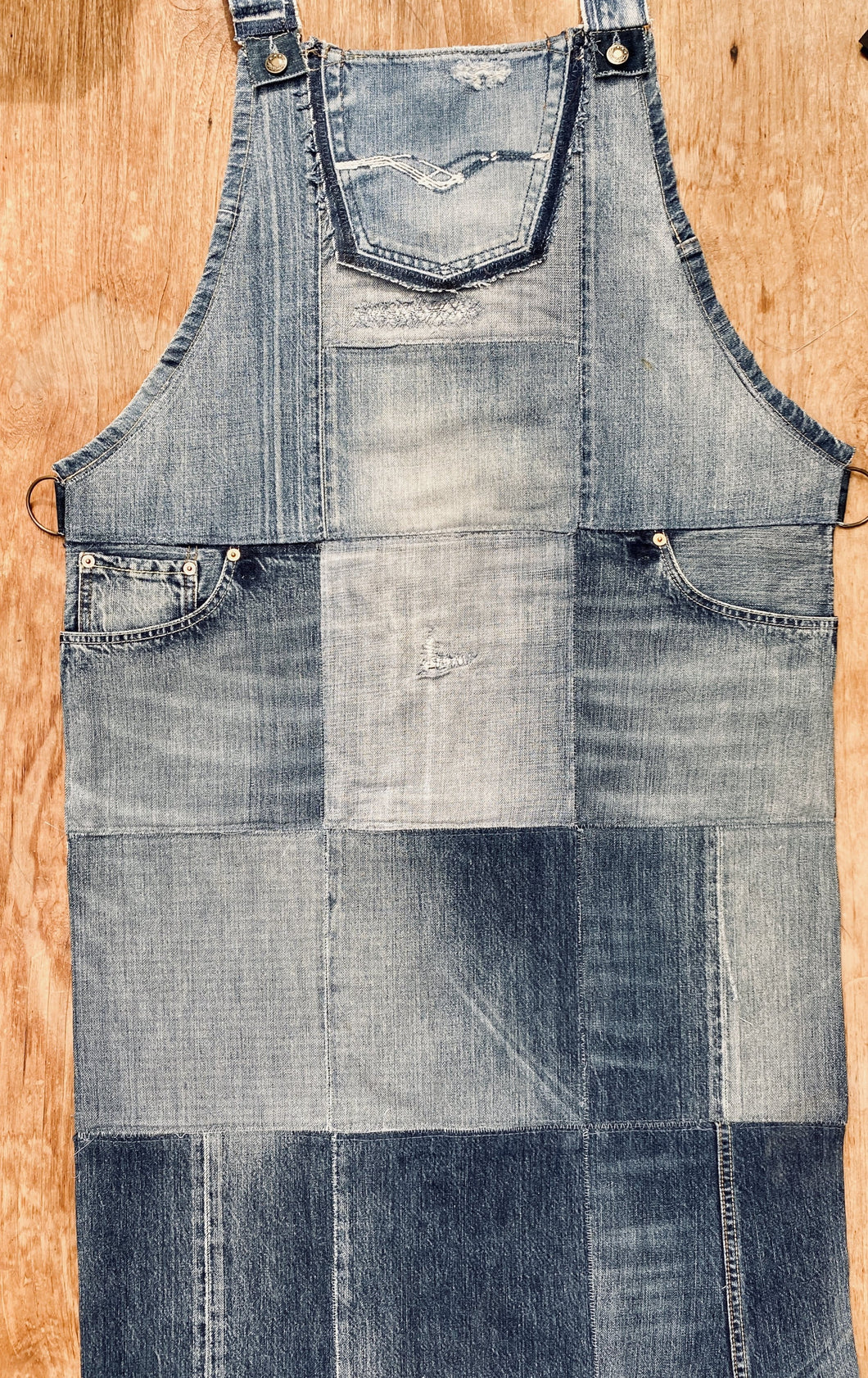 Unique Piece Denim Apron with recycled Diesel jeans