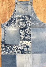 Load image into Gallery viewer, Unique Piece Denim Apron with recycled Levi's jeans and flowers
