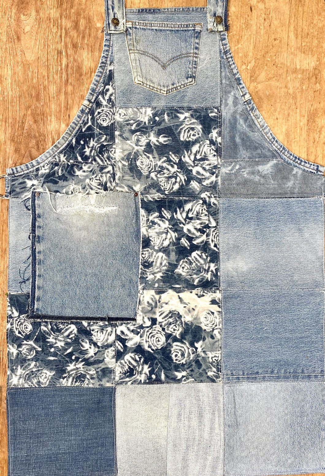 Unique Piece Denim Apron with recycled Levi's jeans and flowers
