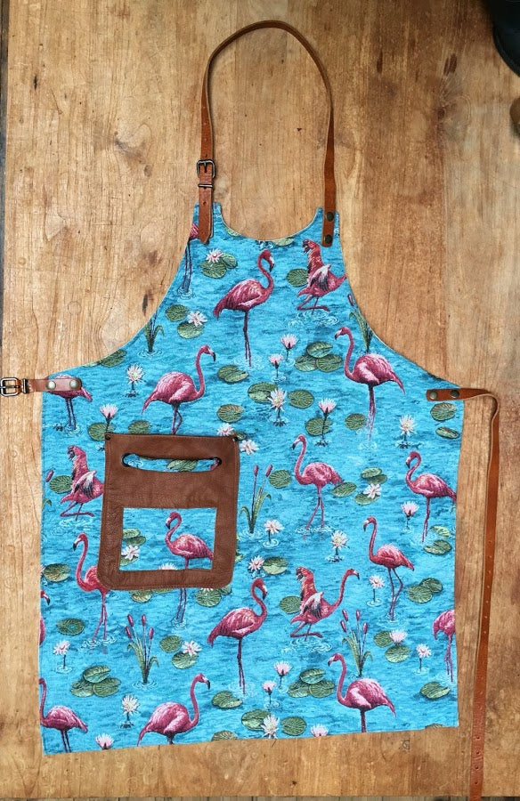 Flamingo Apron in Blue