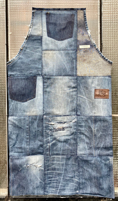 Unique Piece Denim Apron with recycled Burberry jeans
