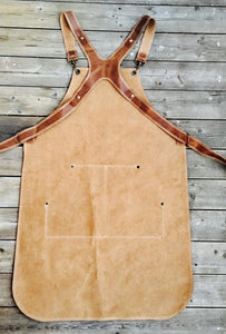 Ladies Apron in Light Brown split leather