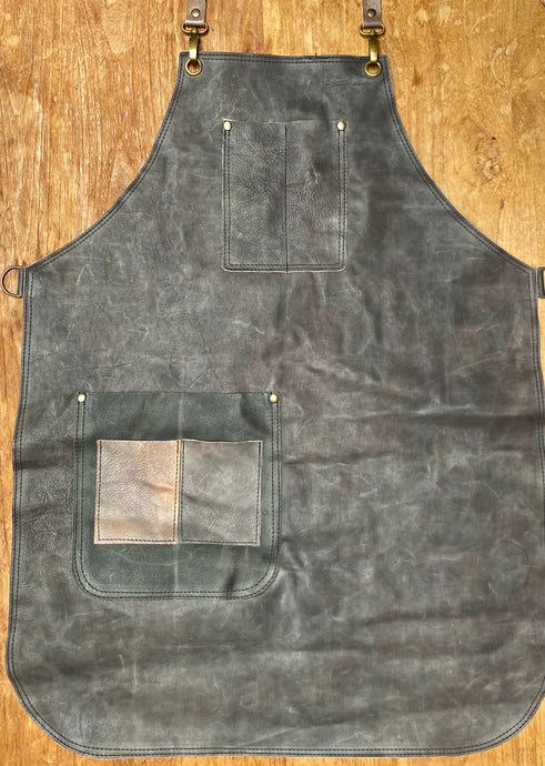 Water colour leather apron with pockets one of a kind