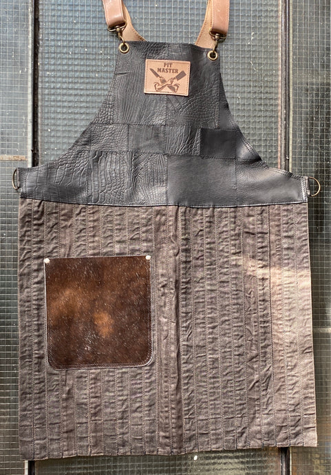 Upcycled leather, cowhide and twill fabric, fully recycled handmade apron.