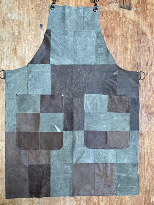 Up cycled full leather Apron, the circular Apron - master piece apron.