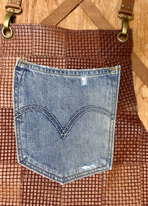 Upcycled leather, Levi denim fabric. The fully recycled handmade apron.