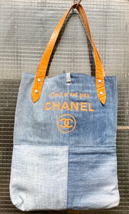 Tote Bag in reused denim with logo In embroidery