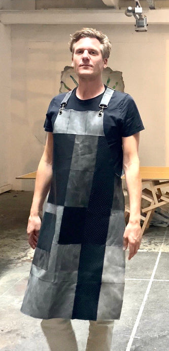 Up cycled full leather. The fully recycled handmade apron.