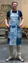 Load image into Gallery viewer, Unique Vegan Circular Denim Apron with recycled Levi's jeans and Diesel jeans