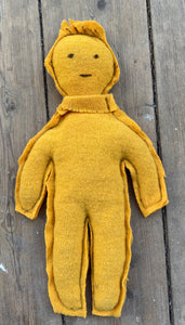 Yellow circulair friend made from a recycled pullover 100% wool