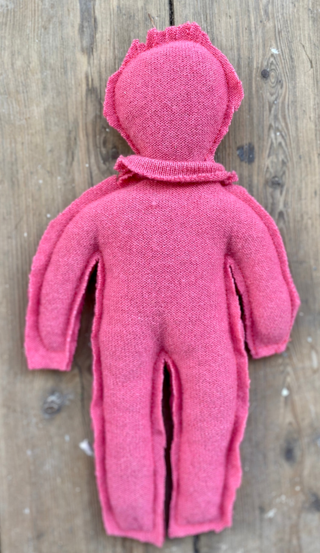 Pink Circulair doll made from a recycled pullover 100% cashmere