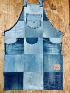 Unique Vegan Circular Denim Apron with recycled Levi's jeans and Diesel jeans