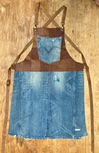 Load image into Gallery viewer, Upcycled leather, Levi denim fabric. The fully recycled handmade apron.